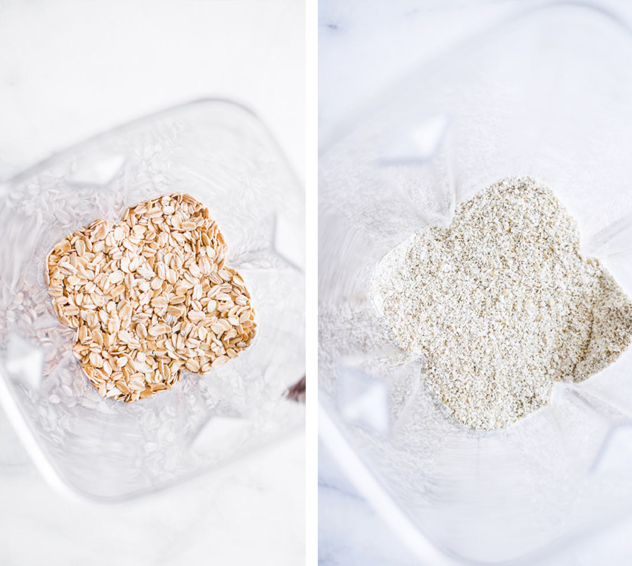 oat flour before and after photos looking down in a blender.