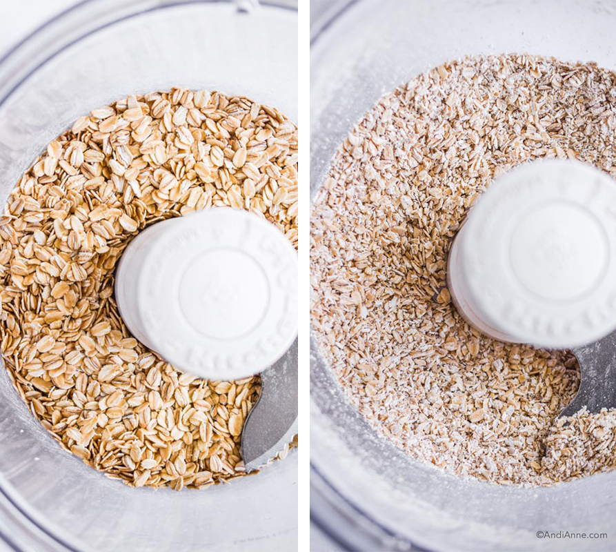 oat flour before and after photos looking down in a food processor.