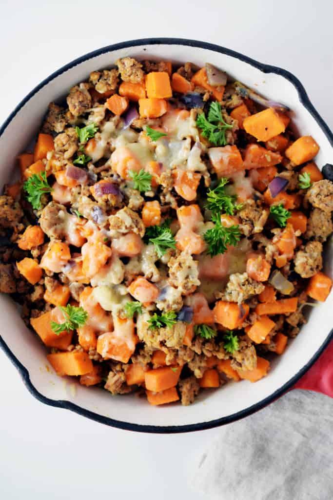 ground turkey sweet potato skillet close up detail.