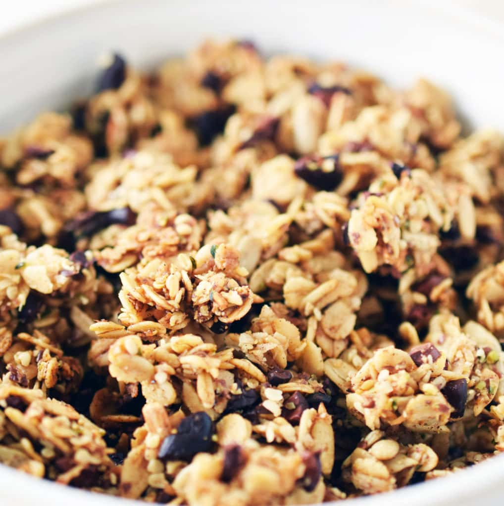 close up of homemade superfood granola
