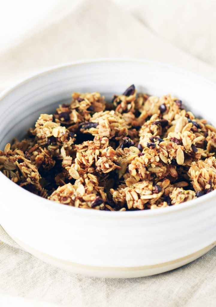 homemade superfood granola recipe in a white bowl