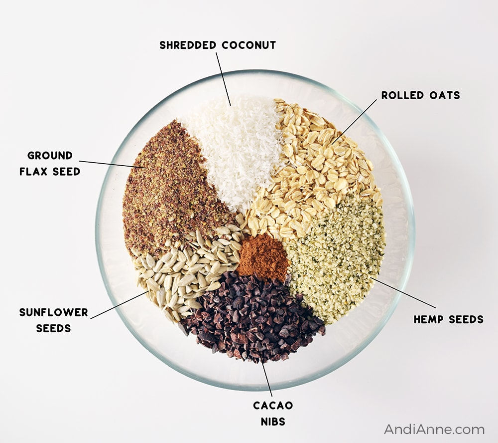 ingredients in a large glass bowl, separated: rolled oats, hemp seeds, cacao nibs, cinnamon, sunflower seeds, ground flax seed, and shredded coconut.