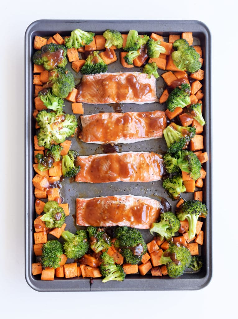Sheet pan teriyaki salmon with broccoli and sweet potato surrounding it