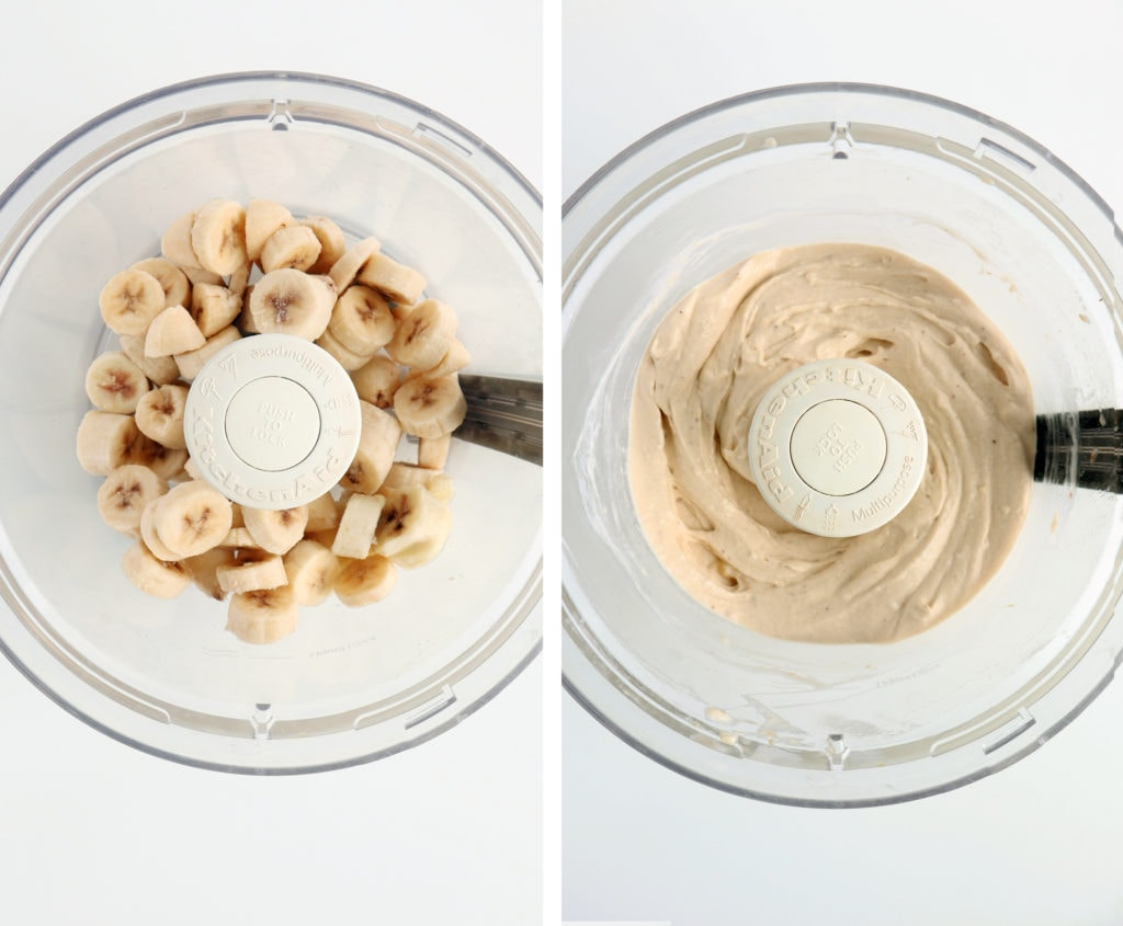 blended frozen bananas in a food processor