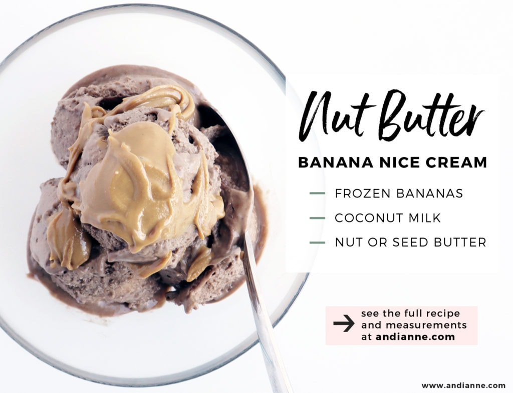 nut butter nice cream scoops in glass bowl with spoon