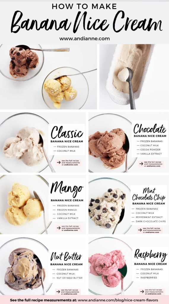 banana nice cream all flavors in glass bowls with spoons and ingredients list in text