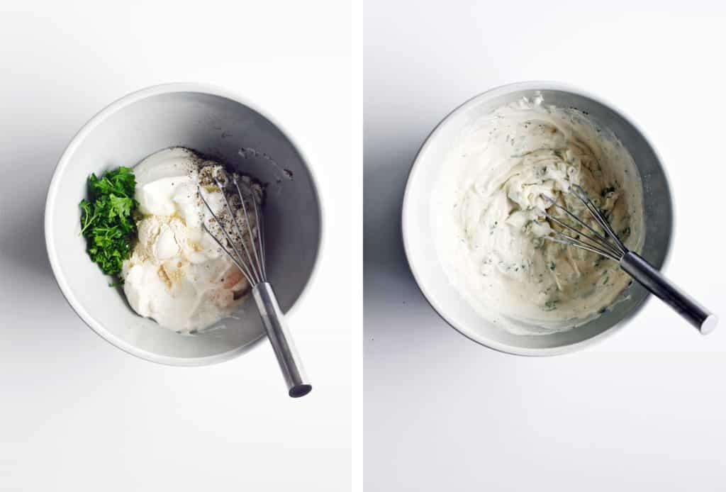 mixing salad dressing ingredients in bowl