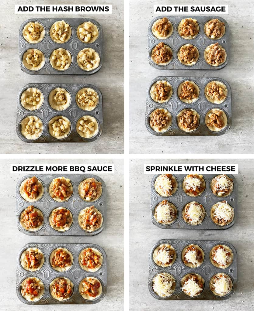 how to assemble the breakfast sausage biscuit muffins in muffin tins