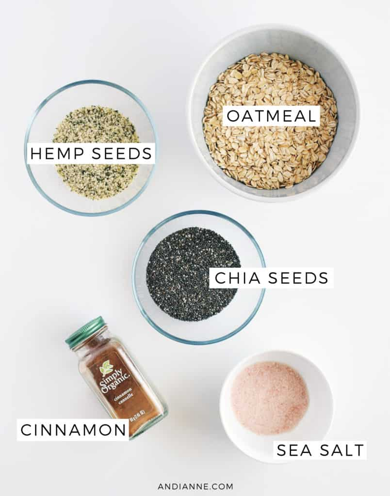 ingredients in bowls on white counter