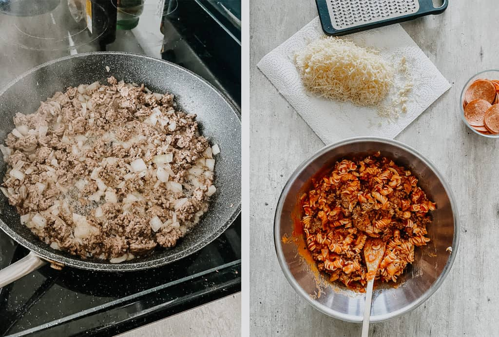 ground beef in skillet and mixing ingredients in bowl