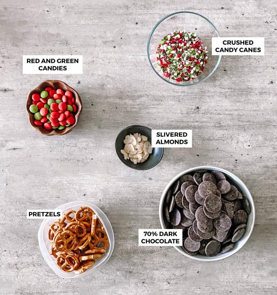 Reindeer Chocolate Bark Recipe Ingredients in Bowls
