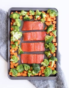 teriyaki salmon with roasted veggies sheet pan dinner