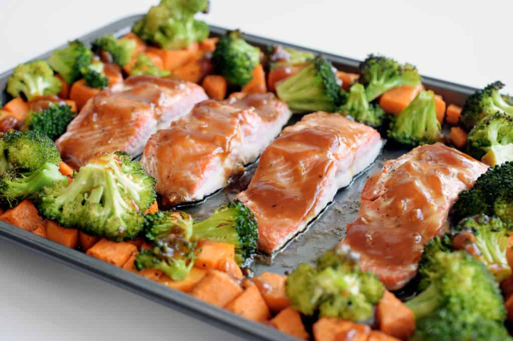 sheet pan teriyaki salmon close up detail after cooked