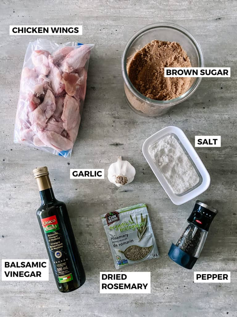 balsamic glazed chicken wings ingredients laid out on counter