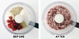 food processor with ingredients before blending and after blending