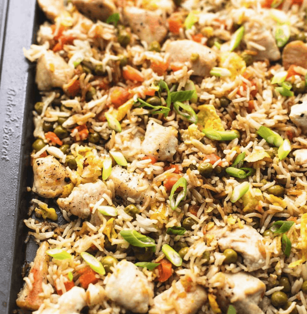 chicken with fried rice sheet pan meal