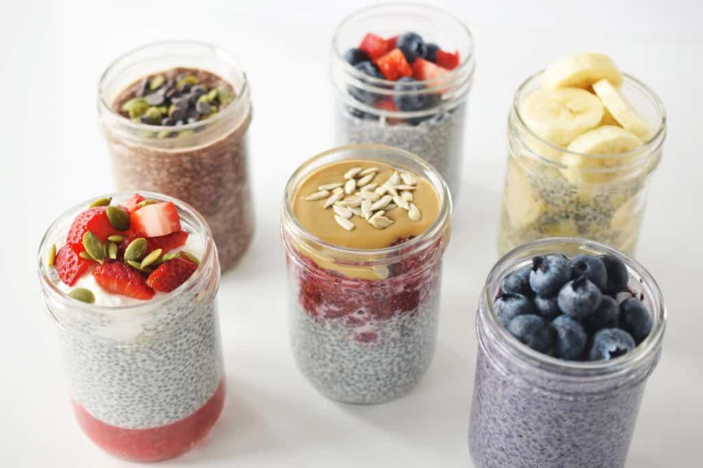 six healthy chia pudding recipes in mason jars