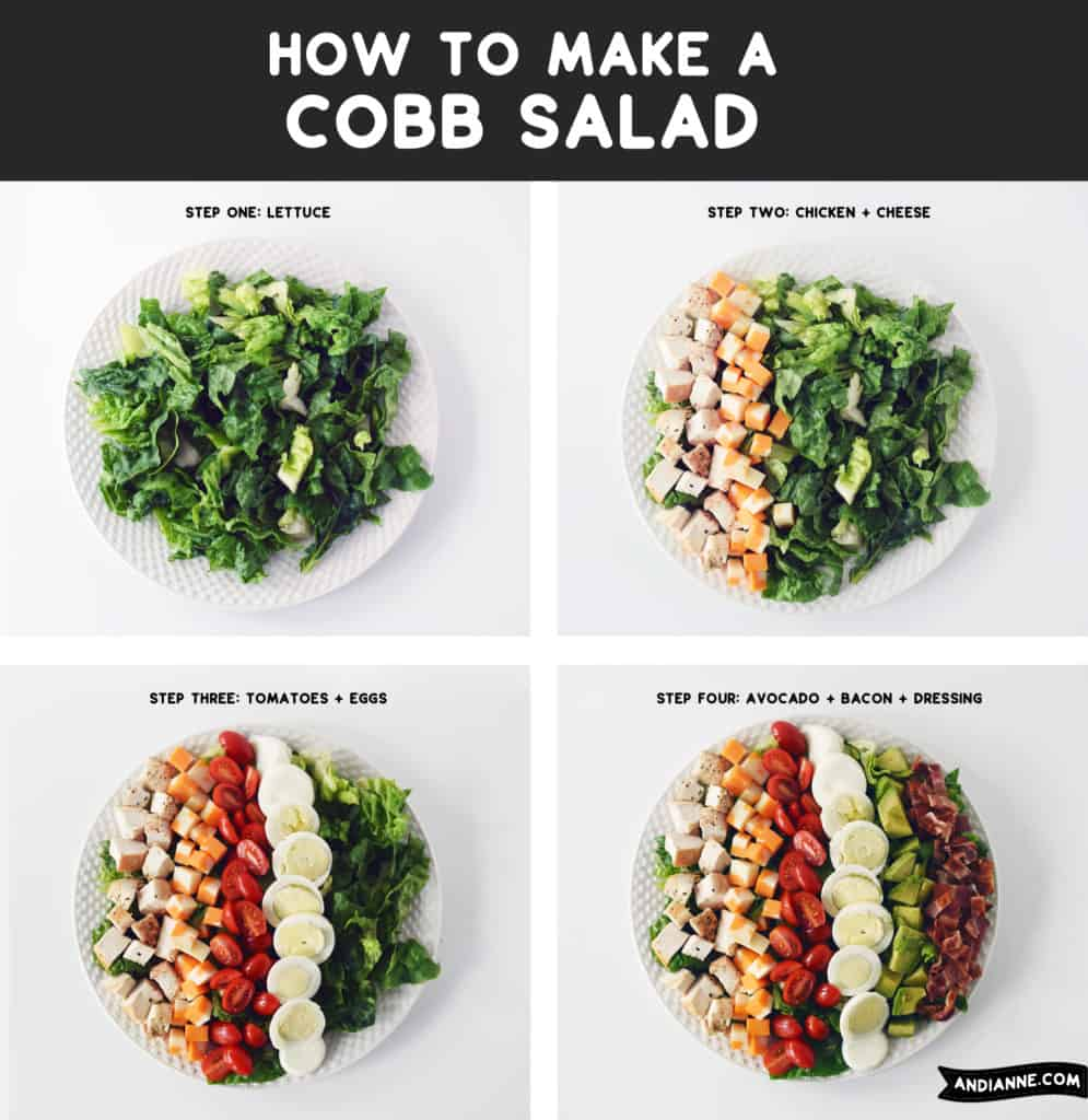 assembling strips of ingredients on white plate to make cobb salad
