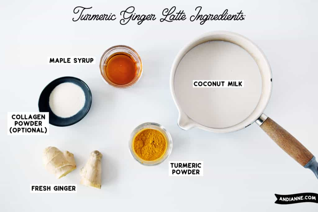 ingredients on a white background. All in small bowls separate. Coconut milk in a pot with wood handle