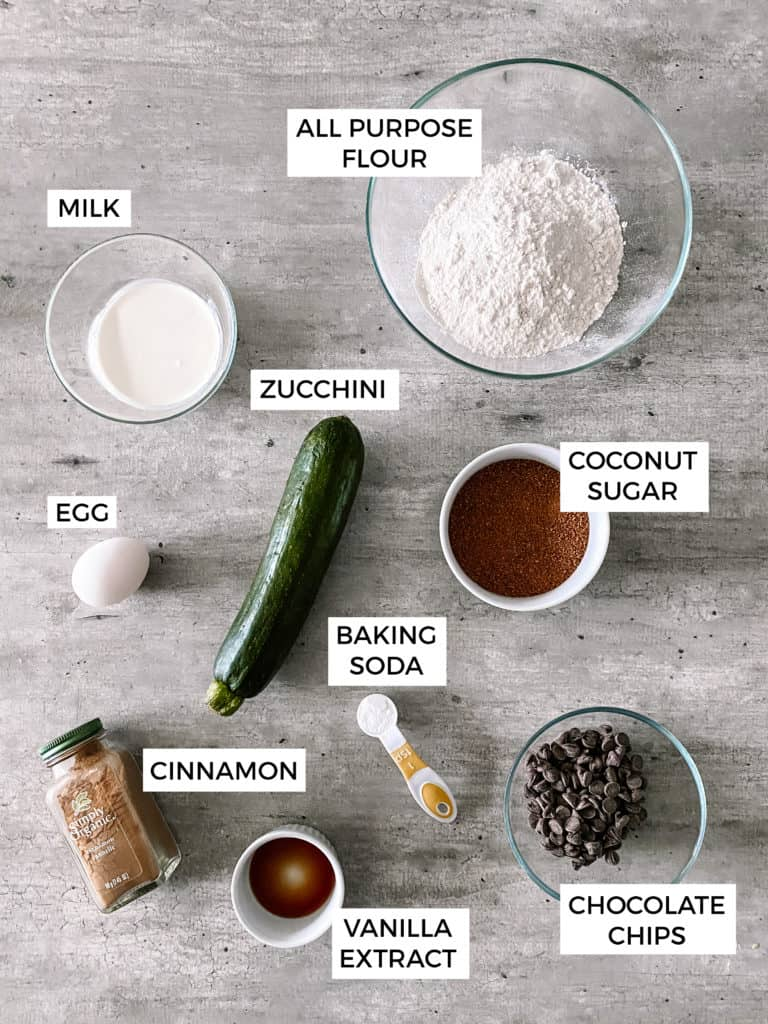 ingredients on counter separately. These are used to make the Zucchini Chocolate Chip Muffins