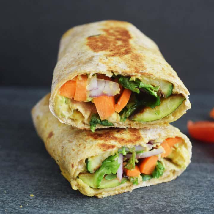 Grilled Zucchini Hummus Veggie Wrap