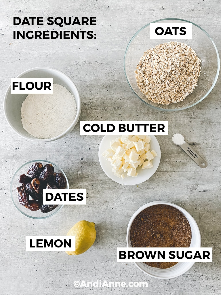 all date square ingredients in bowls separately on a grey countertop