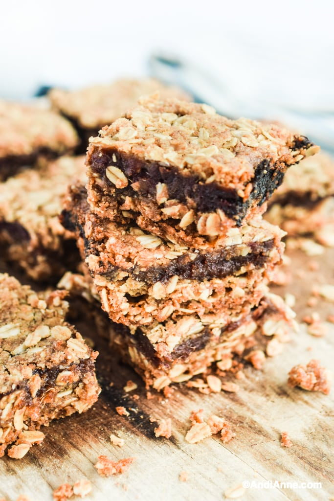 Old fashioned date squares recipe stacked on top of eachother