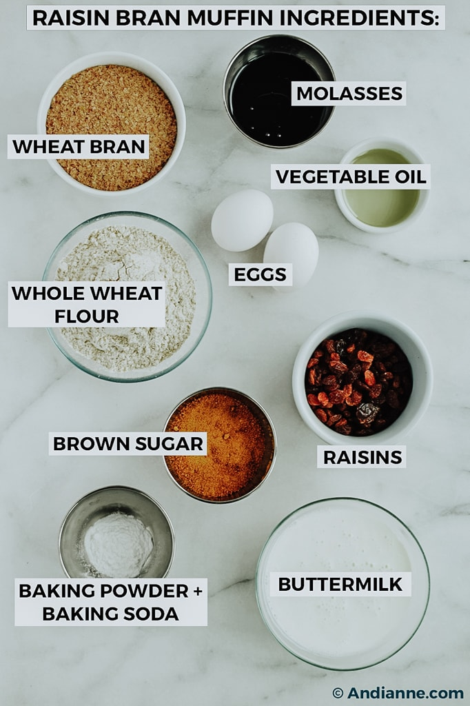 ingredients in small bowls on a marble table