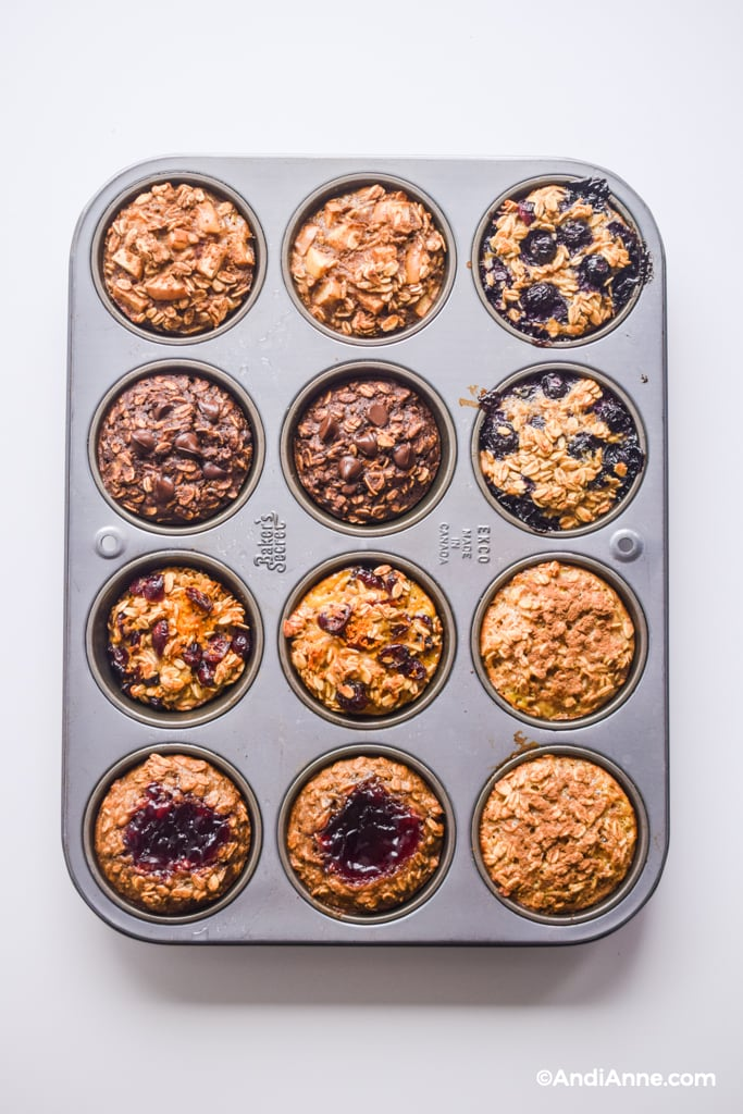 baked oatmeal breakfast cups in a metal muffin pan