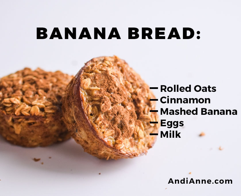 banana bread baked oatmeal breakfast cup with instructions