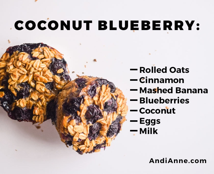 coconut blueberry breakfast cup with instructions