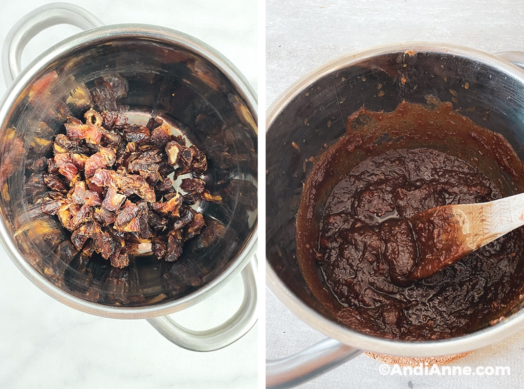 before and after of what the date sauce looks like in a steel pot