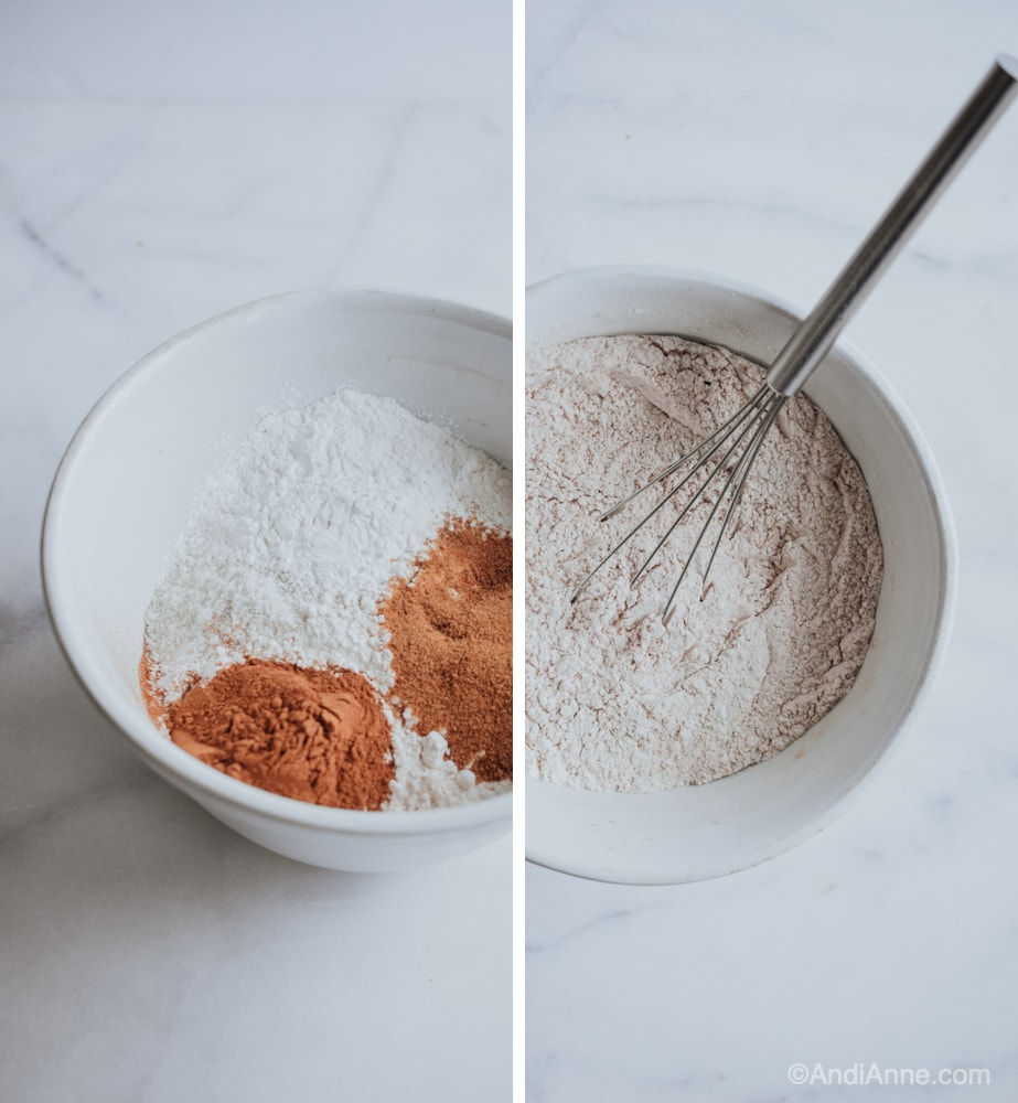 mixing flour ingredients in a white bowl with whisk
