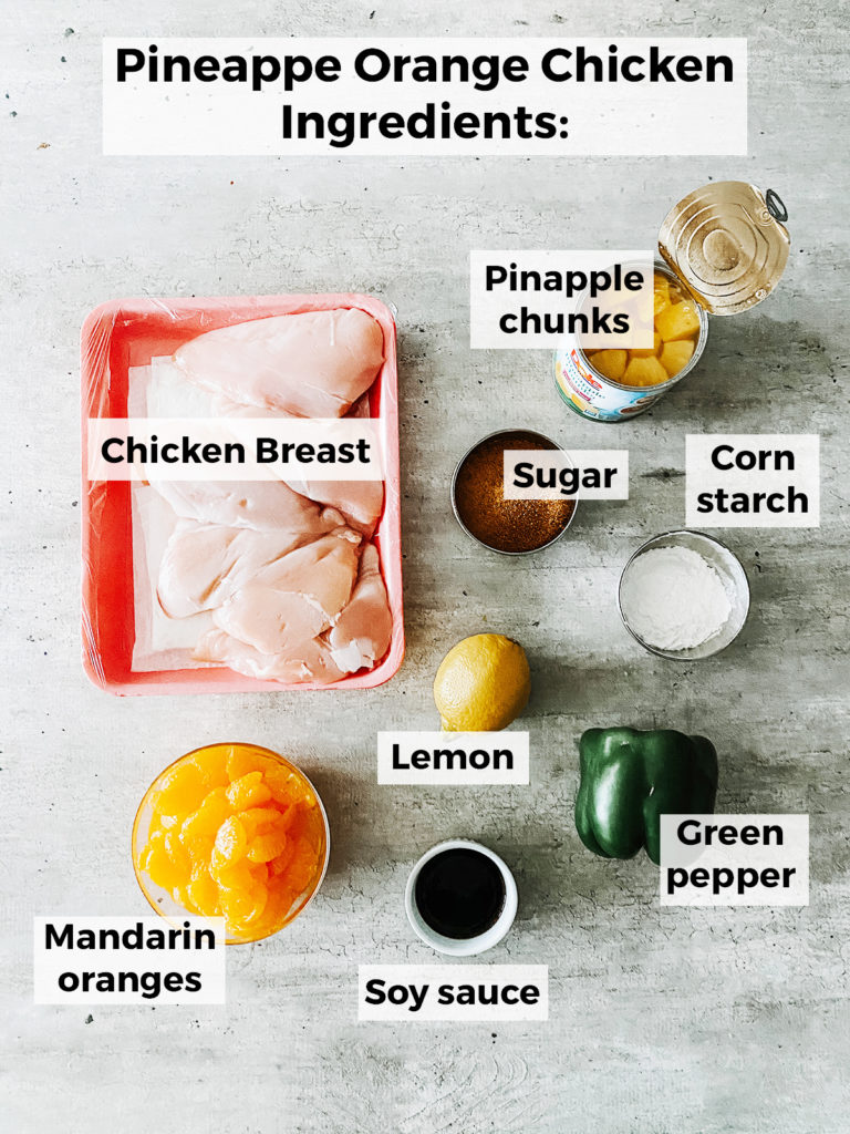 pineapple orange chicken recipe ingredients on the counter in separate containers