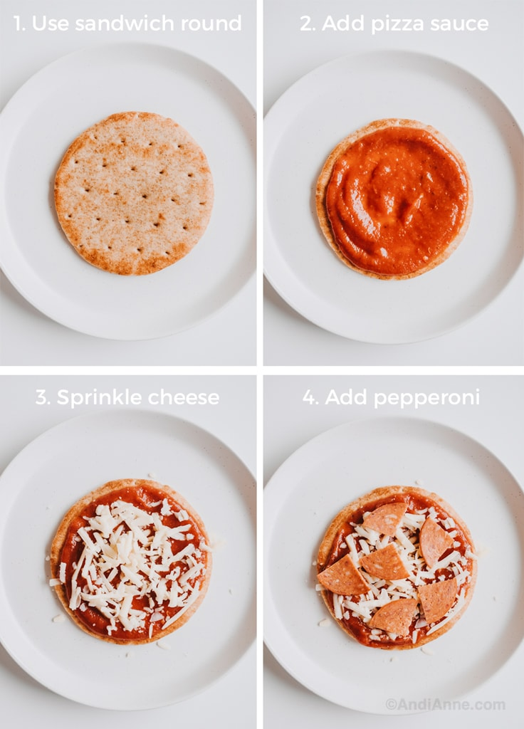 Assembling the homemade pizza lunchables on a white plate