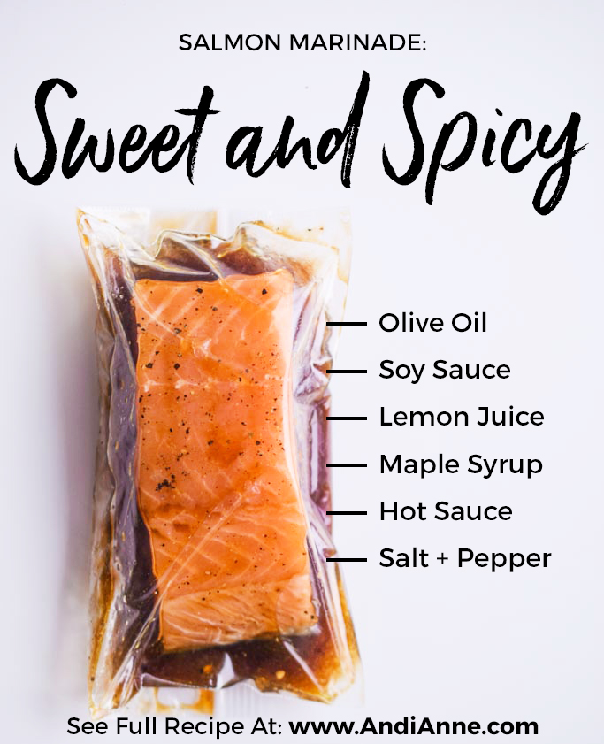 sweet and spicy salmon marinade in plastic bag with ingredients text on image