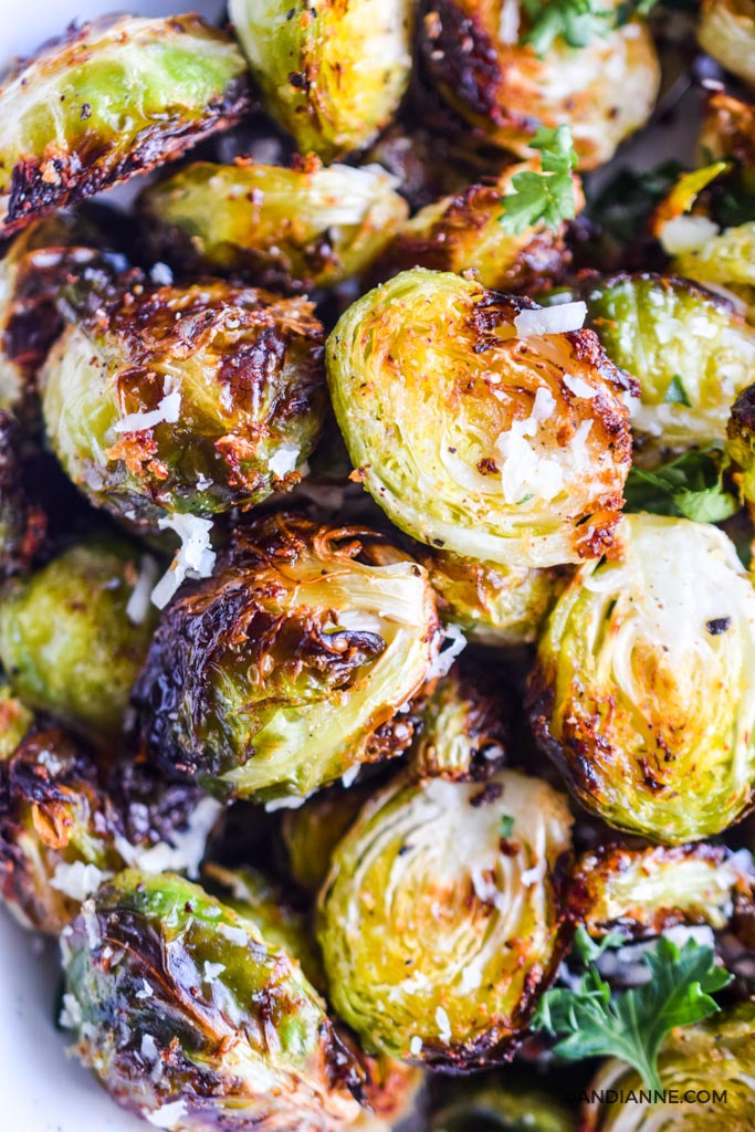 close up detail of crispy sliced brussels sprouts