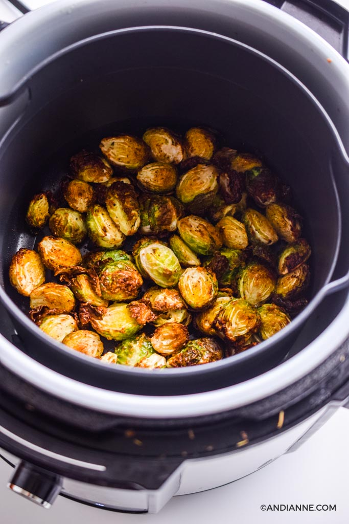 crispy cooked brussels sprouts in an air fryer