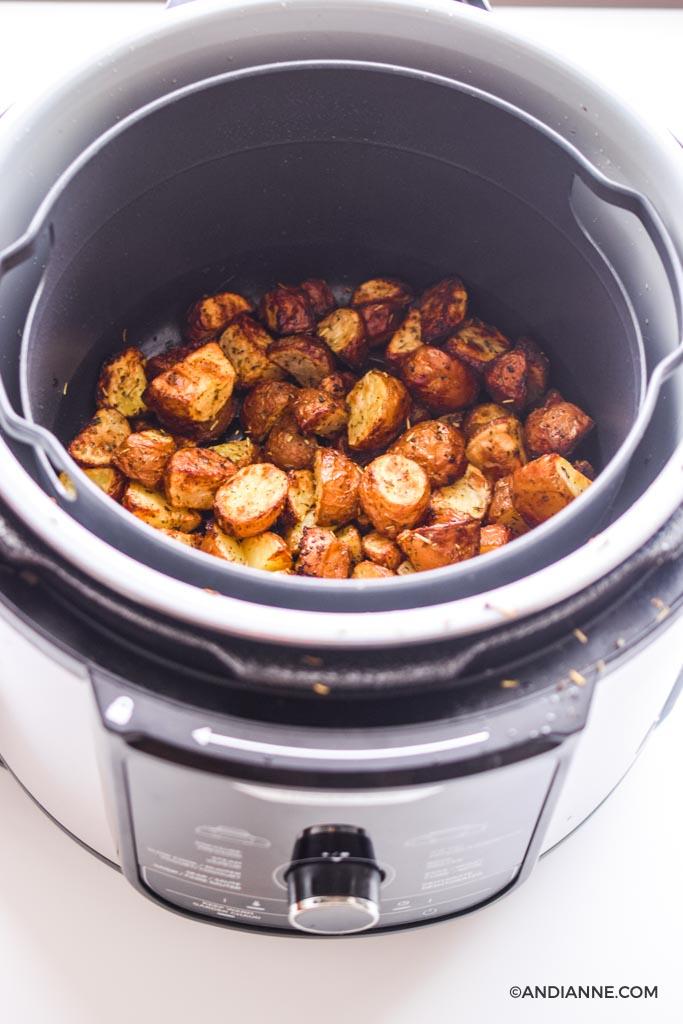 cooked potatoes in a ninja foodi deluxe air fryer