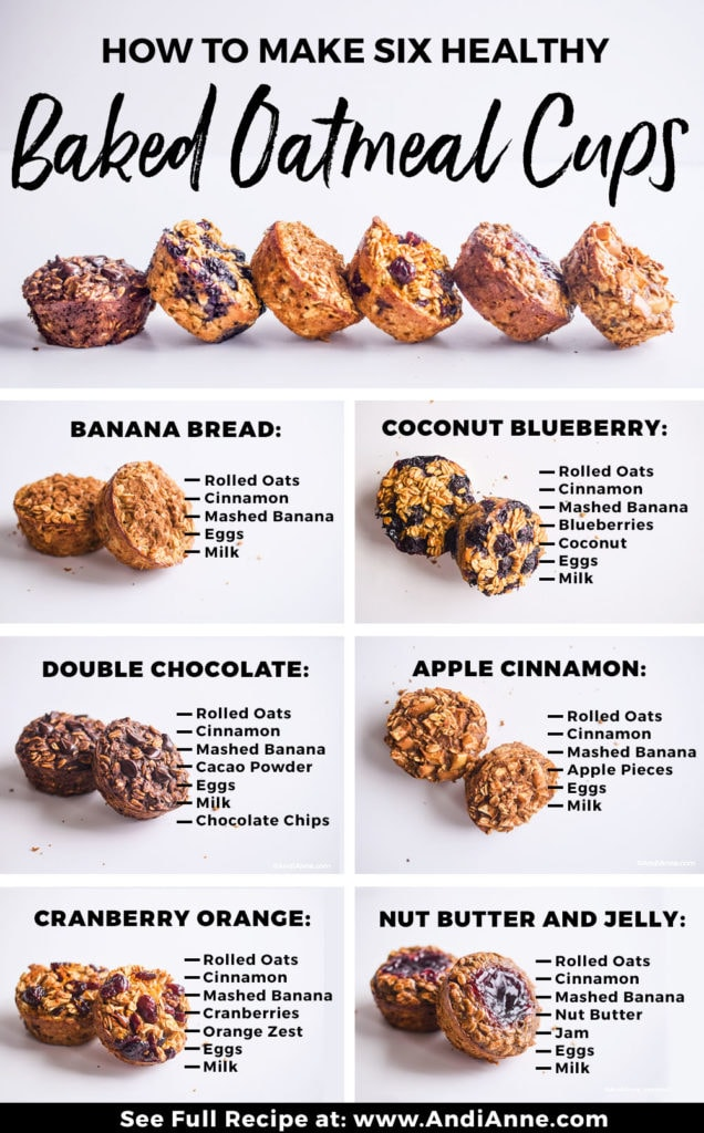 baked oatmeal breakfast cups with six flavor options to try