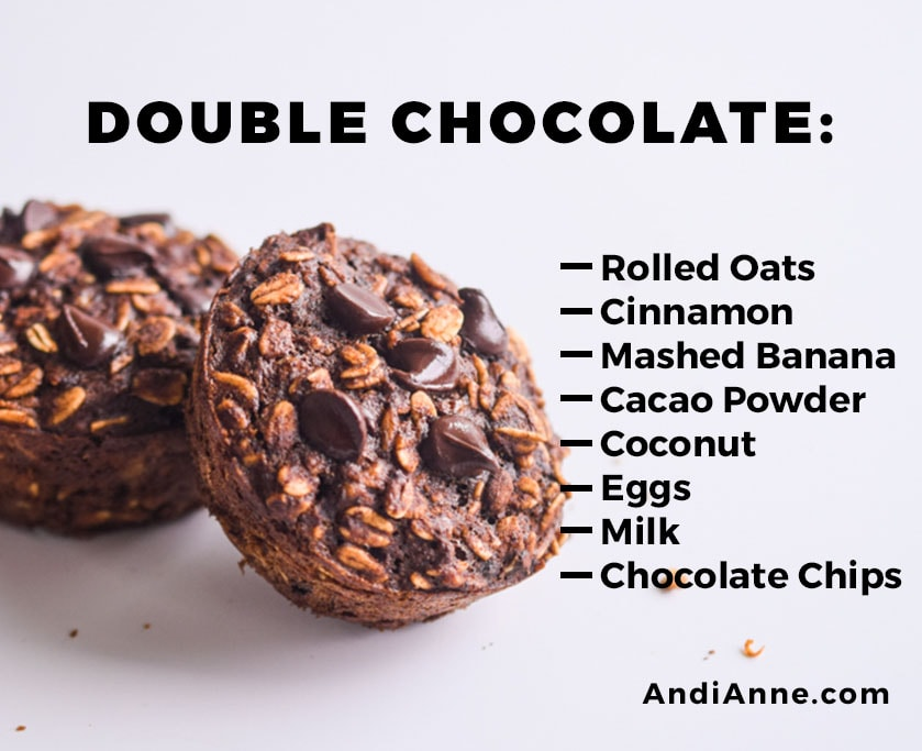 double chocolate oatmeal breakfast cup with instructions