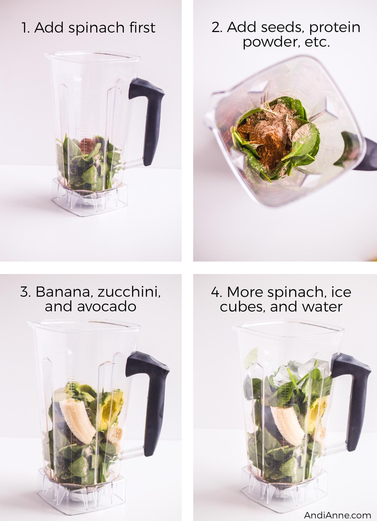 Blender cup holding ingredients to make smoothie. Includes spinach, protein powder, avocado, and ice cubes