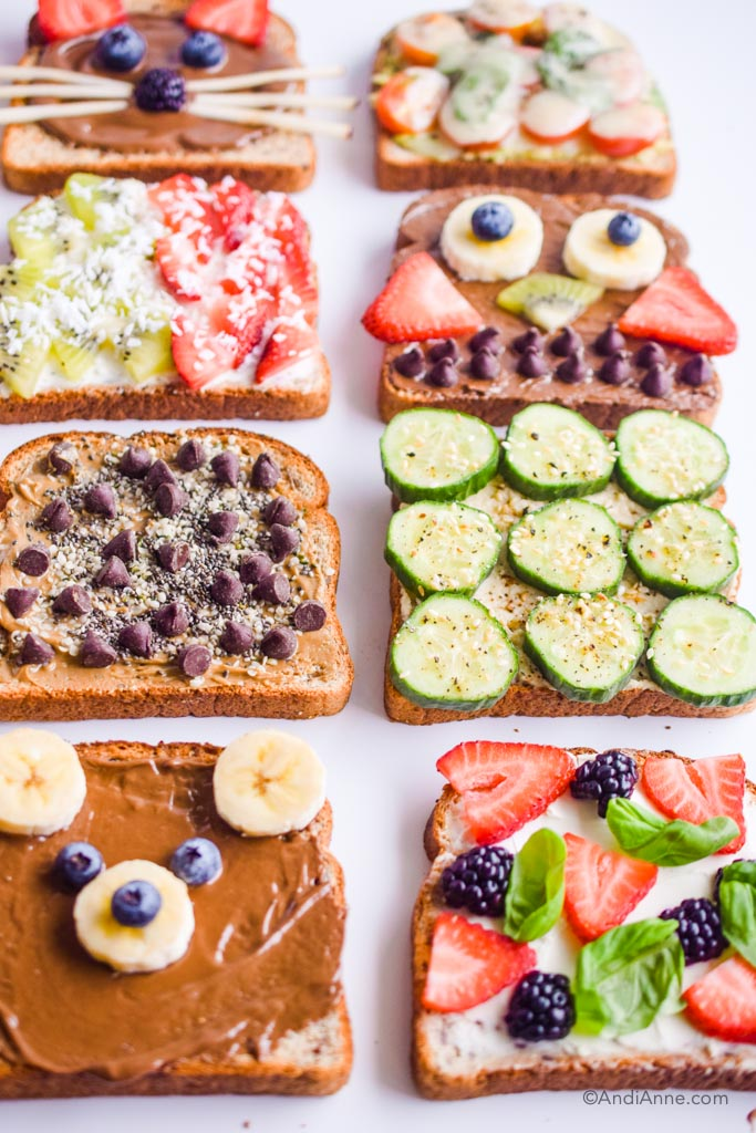 12 healthy breakfast toast ideas using a variety of nut butters, mashed avocado, cream cheese, fresh fruit and vegetables for different flavors.