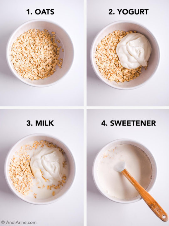4 steps to making overnight oats. Add oats to white bowl, mix in yogurt, milk, and sweetener.