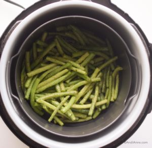 green beans inside an air fryer