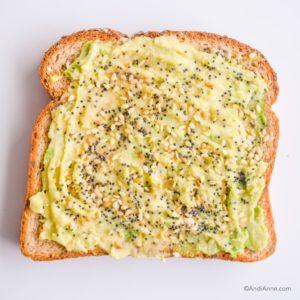 mashed avocado on toast