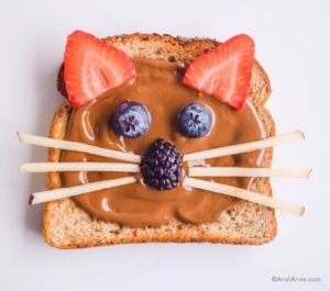 toast in cat shape using berries and apple slices to create the face