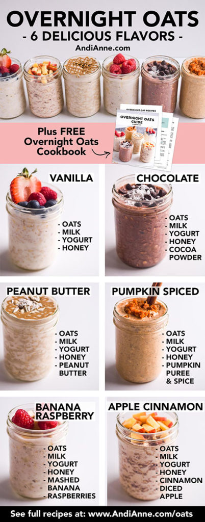 overnight oats recipes with ingredients written out beside eacho ne