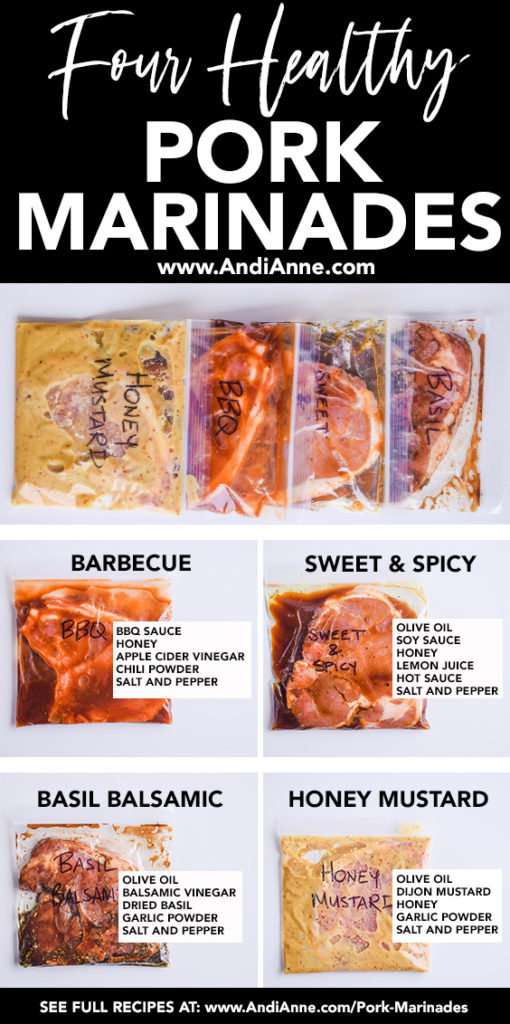four healthy pork marinades pinterest image with ingredients written over each bag
