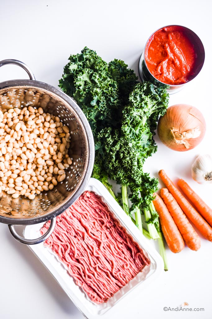 Ingredients for ground turkey soup